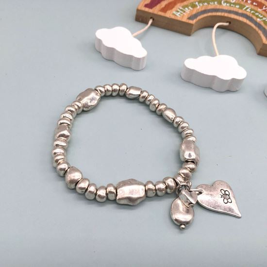 Silver beaded stretch bracelet with bee heart charm