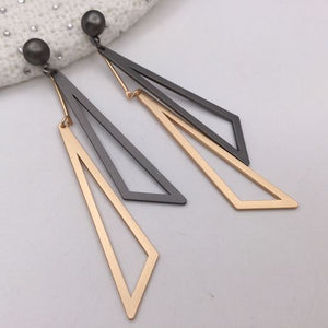 Rose Gold & Black abstract drop earrings