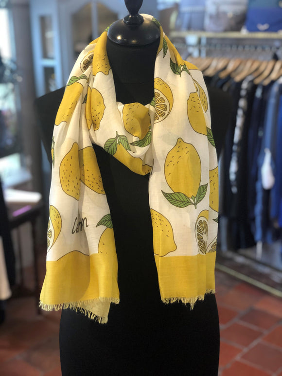 Fruity Lemon Print Frayed Scarf White