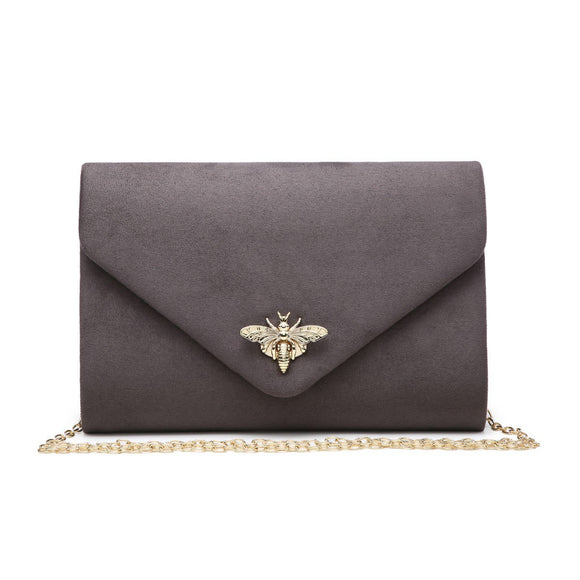 Grey suede effect clutch with gold bee clasp