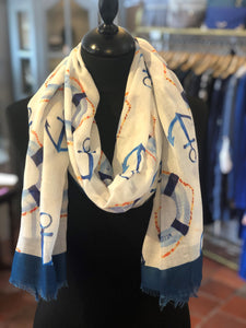 Seaside Anchor Print Frayed Scarf White