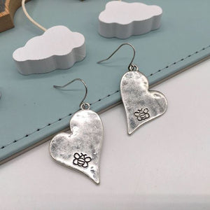 Silver distressed bee heart earrings