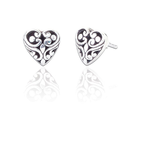 Sterling Silver Georgina Heart Stud Earrings