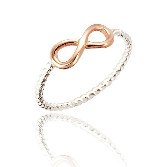 Sterling Silver Joy Infinity Ring - Rose Gold Plated