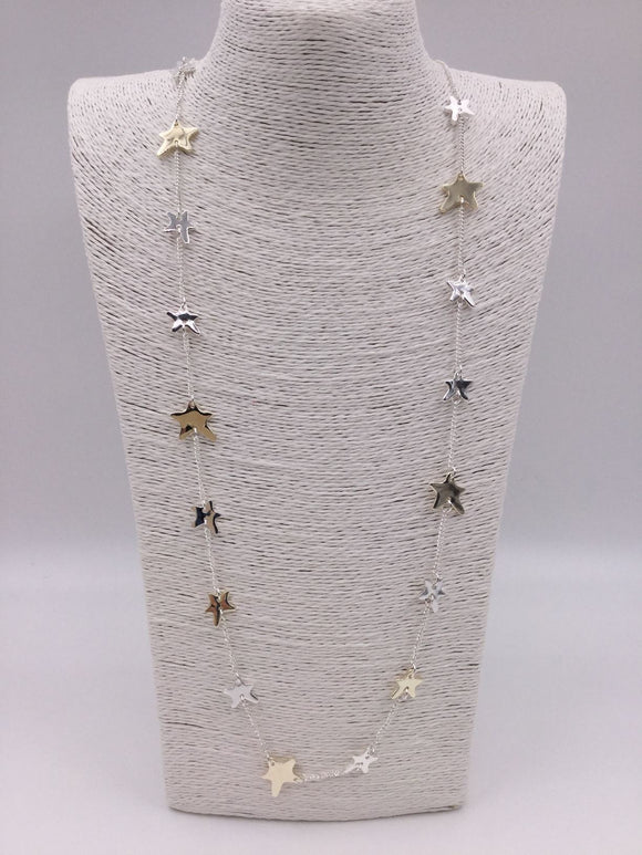 Silver & gold necklace with free form stars along chain