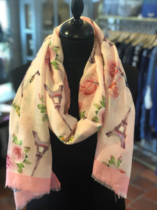 Eiffel Tower And Rose Flower Print Frayed Scarf Pink