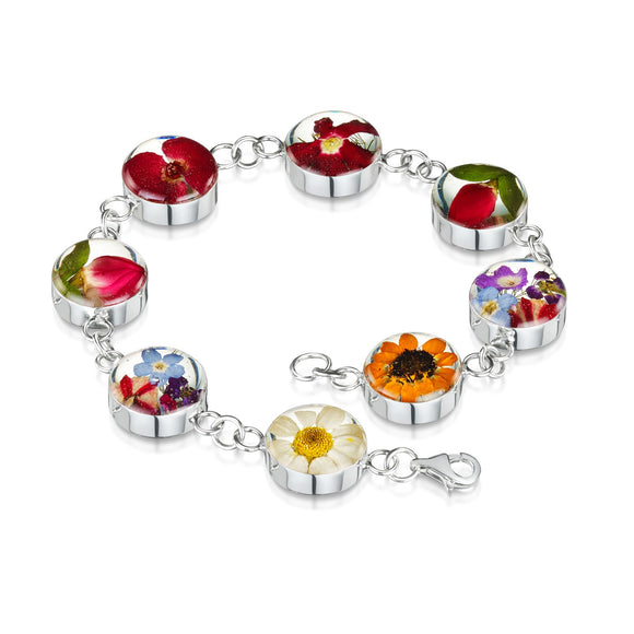Sterling Silver Round Mixed Flower Bracelet