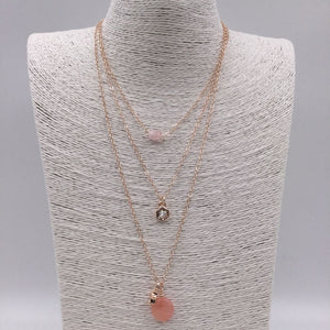 Rose Gold 3 layer necklace with pink beads and star charms