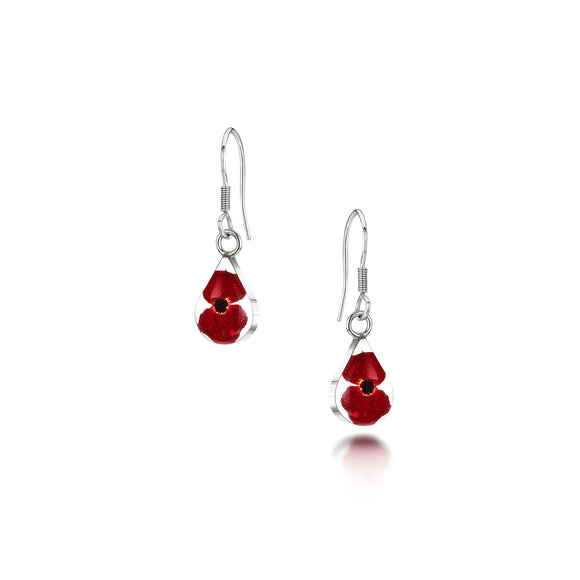 Sterling Silver extra small poppy teardrop Earrings