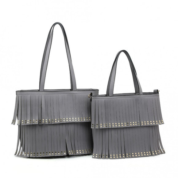 Grey tassel front bag with strap - medium