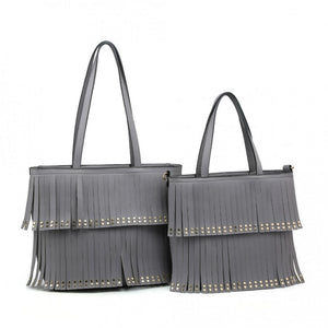 Grey tassel front bag - large