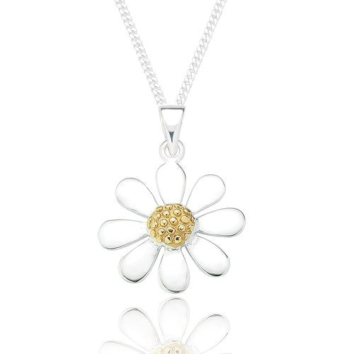 Sterling Silver Daisy Pendant & Chain - Gold Plated