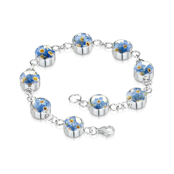Sterling Silver Round Forget-me-not Bracelet