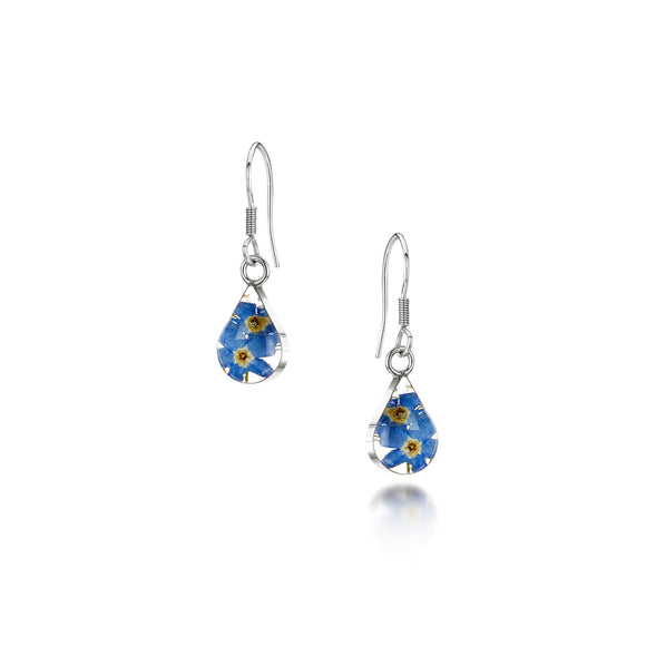 Sterling Silver Forget me not tear drop Earrings