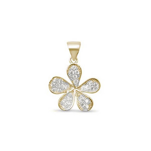 925 Sterling Silver Gold Plated CZ Flower Pendant