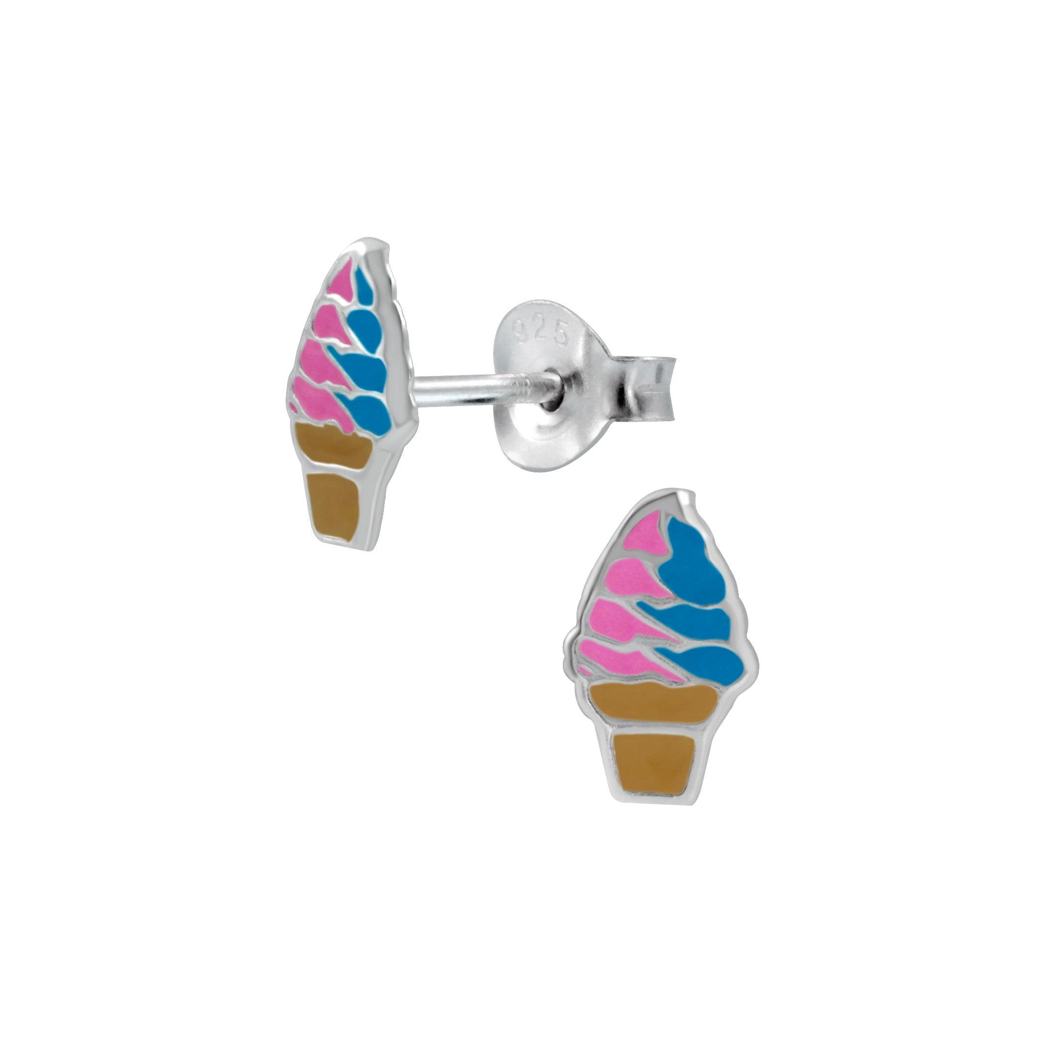 Silver Ice Cream Stud Earrings-Pink & Blue - Nine Twenty Five Silver