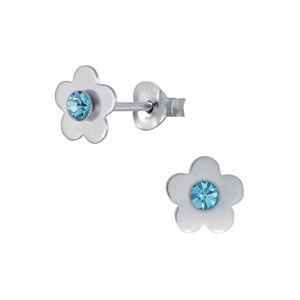 Silver Flower Stud Earrings-Aqua-Bohemica - Nine Twenty Five Silver