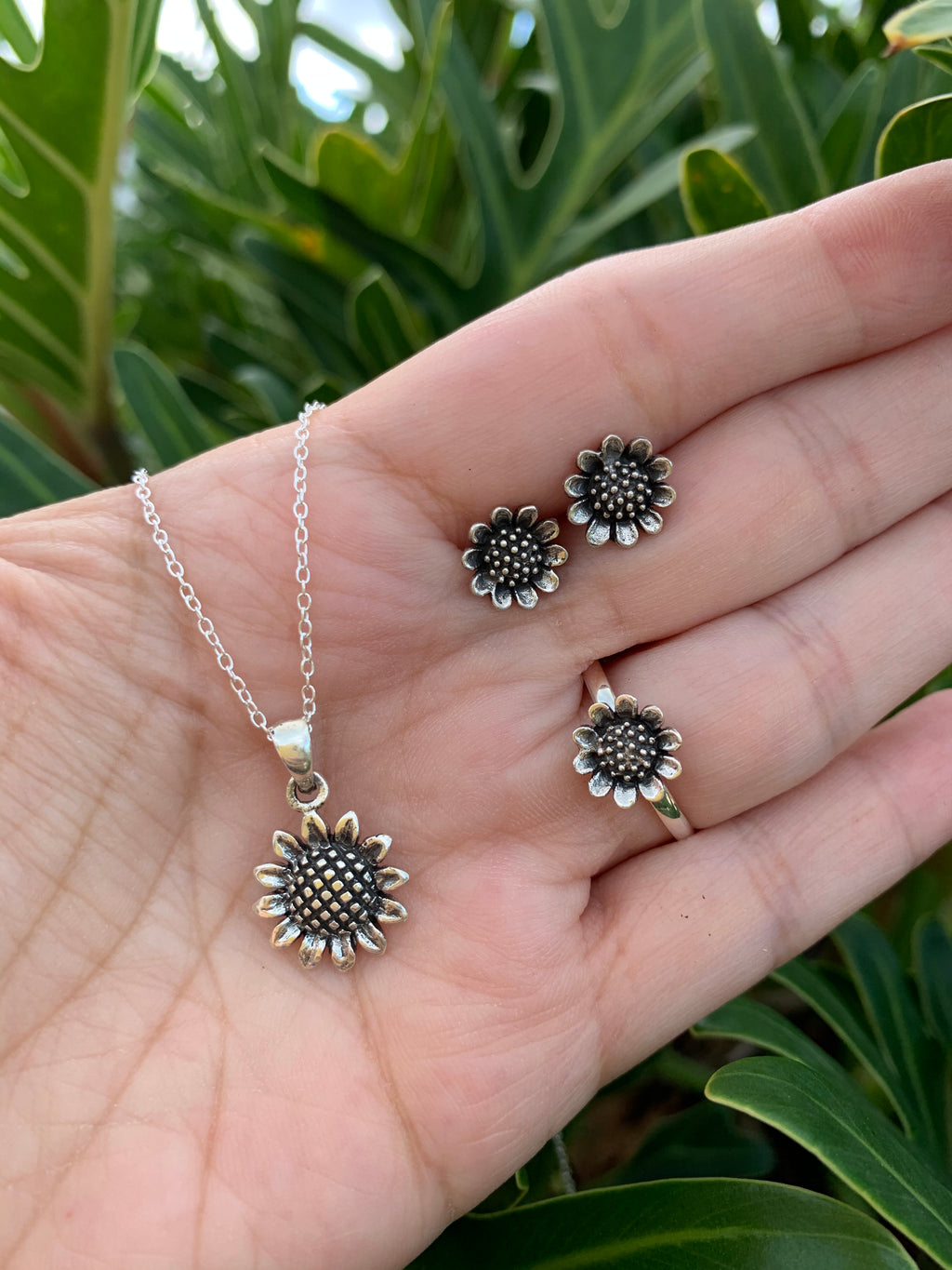 925 Sterling Silver Sunflower 3 Piece Set - Nine Twenty Five Silver