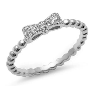 925 Sterling Silver Micro Pave CZ Bow Tie Ring - Nine Twenty Five Silver