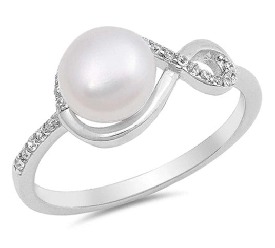 Infinity With Freshwater Pearl And CZ 925 Sterling Silver Ring