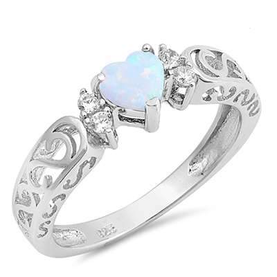 Lab Created Heart Shape White Opal With CZ And Spiral Design 925 Sterling Silver Ring