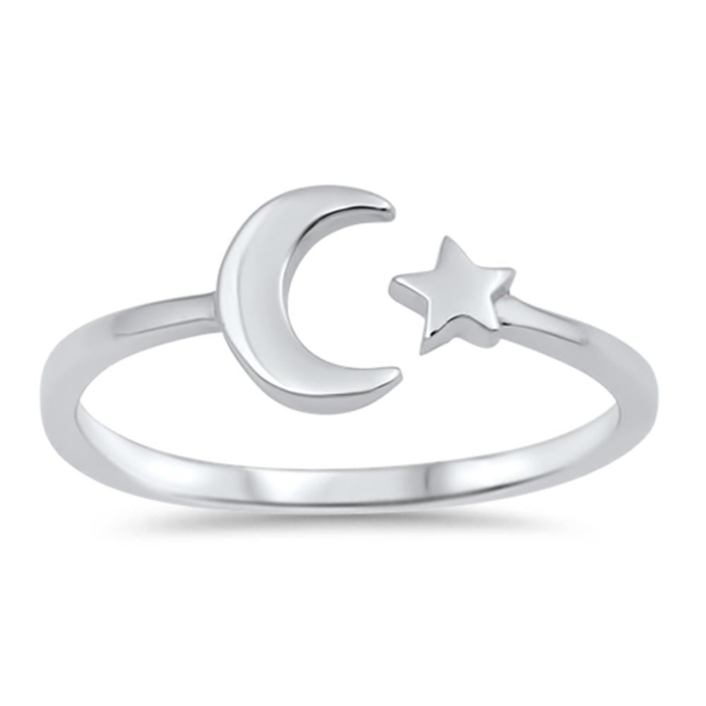 Solid Moon & Star 925 Sterling Silver Ring