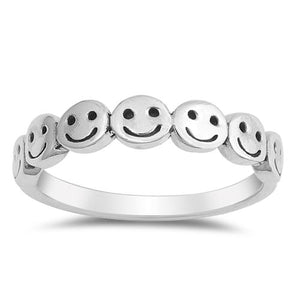 Smiley Faces 925 Sterling Silver Ring