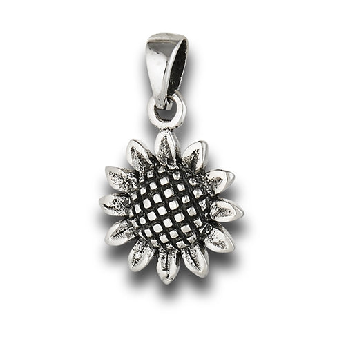 925 Sterling Silver Sunflower Pendant - Nine Twenty Five Silver