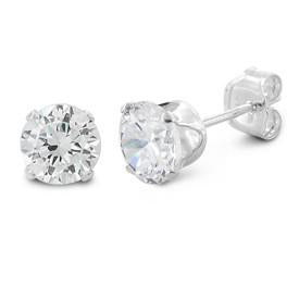 1 ct Sterling Silver CZ Stud Earrings 5MM - Nine Twenty Five Silver