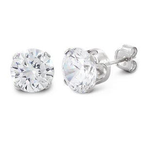 3 ct Sterling Silver Cubic Zirconia Stud Earrings 7MM - Nine Twenty Five Silver