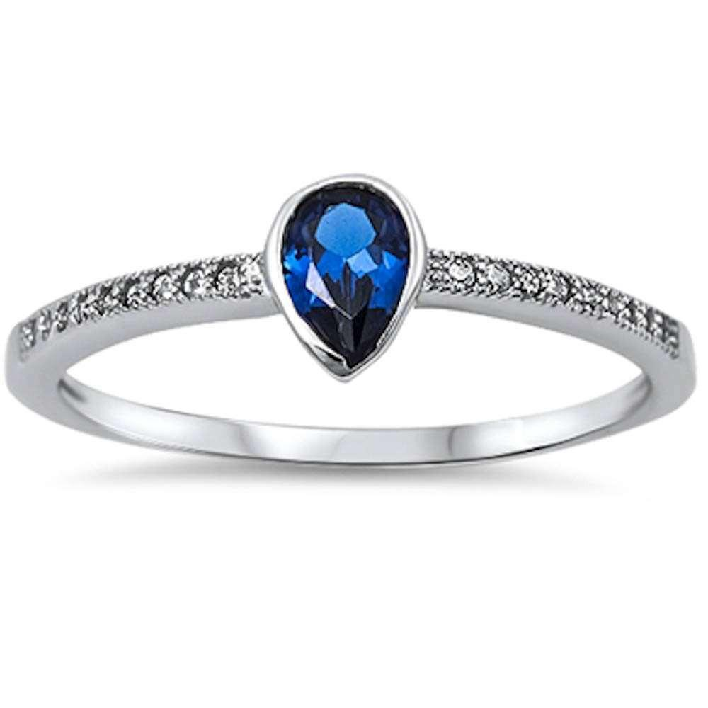 Pear Shape Blue Sapphire & Cz 925 Sterling Silver Ring