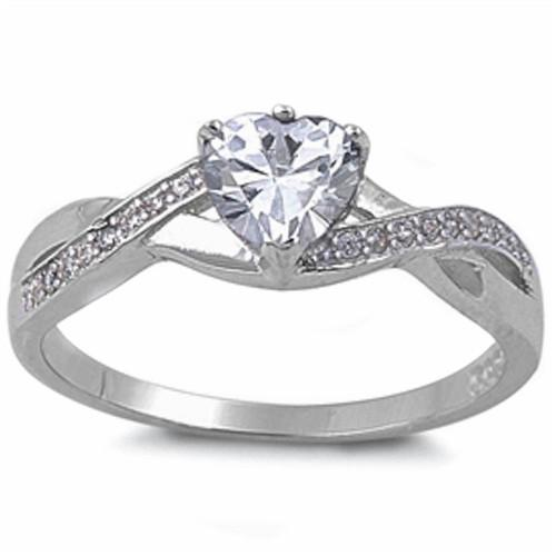 Clear Cz Heart With Cz Accent 925 Sterling Silver Ring