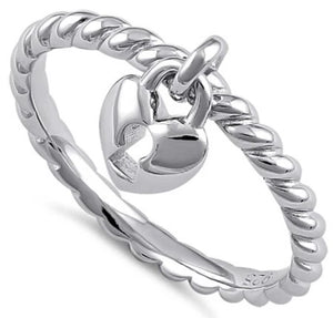Sterling Silver Locked Heart Dangle Ring - Nine Twenty Five Silver