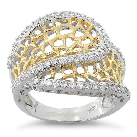 Sterling Silver Two Tone Freeform CZ Ring - Nine Twenty Five Silver