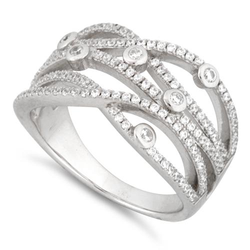 Sterling Silver Twisted Beads Pave CZ Ring - Nine Twenty Five Silver