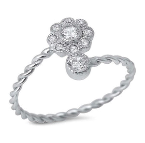 Cubic Zirconia Flower Twisted Band 925 Sterling Silver Ring