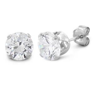 1.5 ct Sterling Silver CZ Round Stud Earrings 6MM