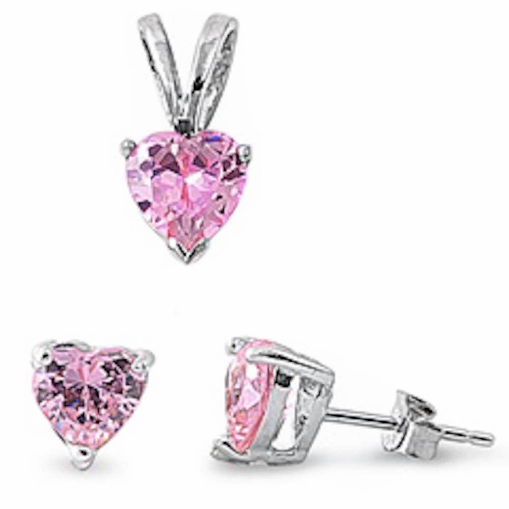 Pink Cz Heart Pendant & Earrings Set 925 Sterling Silver