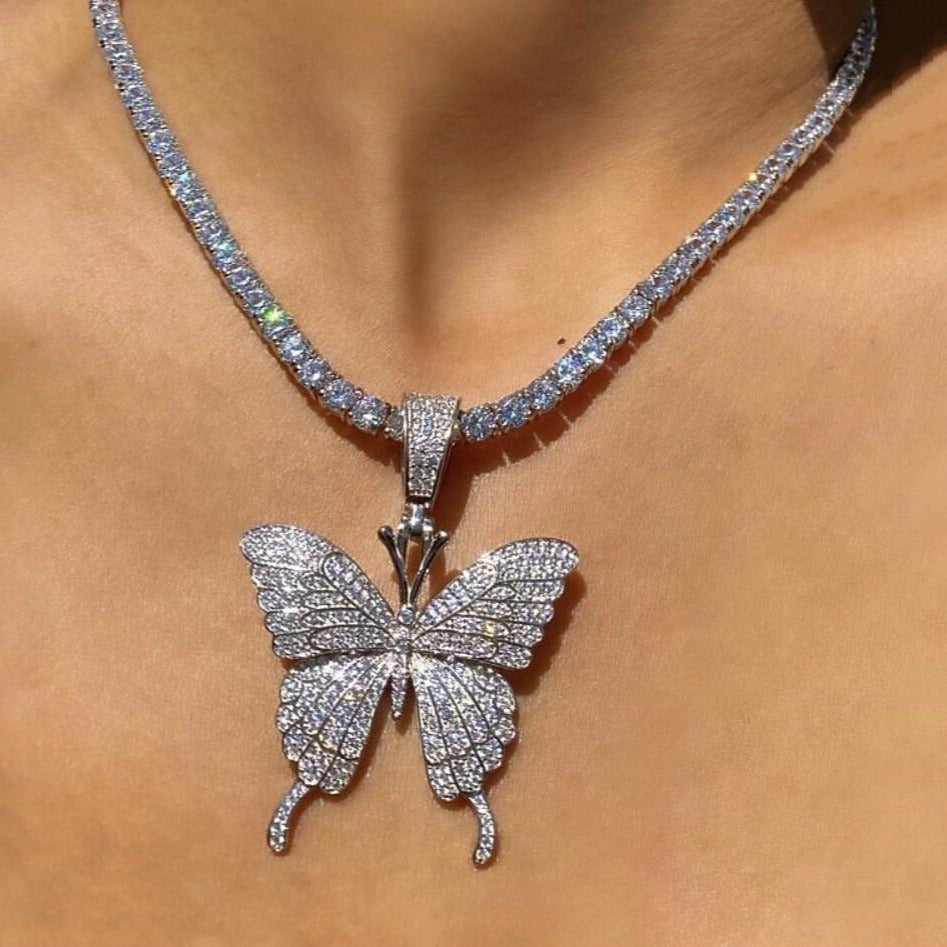 ICY Butterfly Necklace-diamond chain-The Chic Women