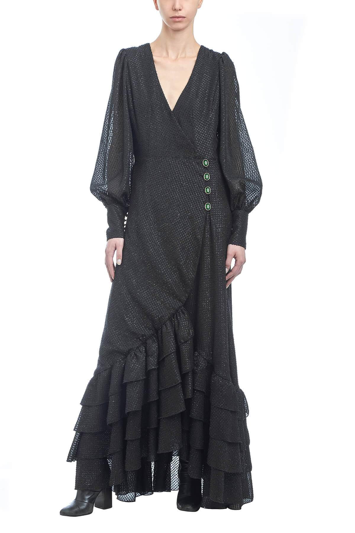 Black Clotilde Moirè Gown