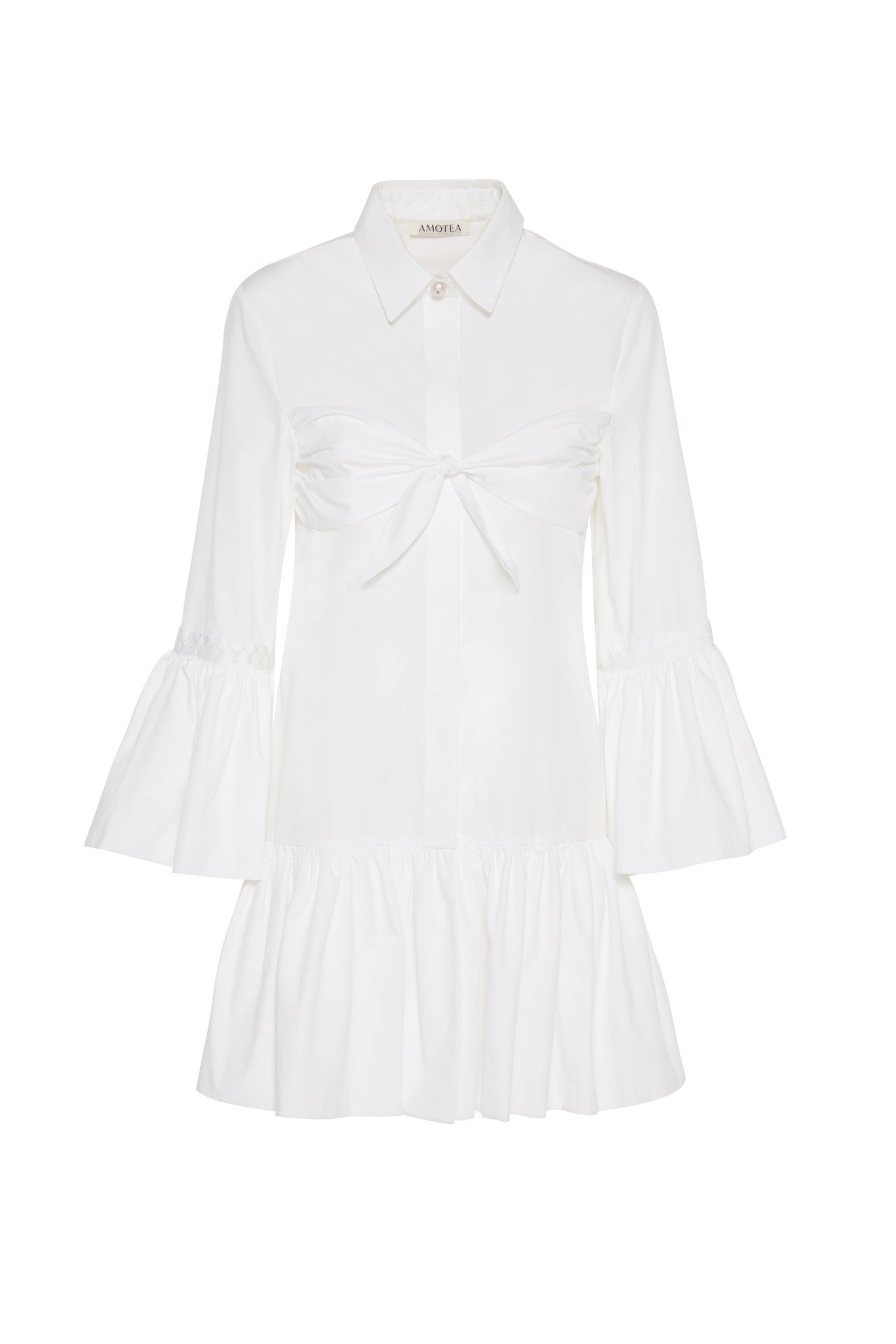 NINA MINI DRESS IN WHITE POPLIN