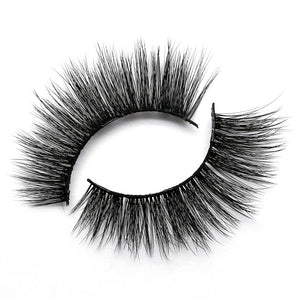 Created to give a flirty finished look! This lash has an evenly distributed volume and length, with soft fibers on a flexible clear band. This is your go-to for a glam look! Lashes can be reused 25 times with proper care.