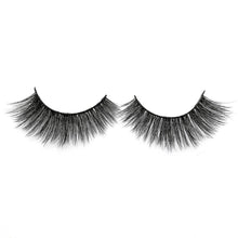 Load image into Gallery viewer, Created to give a flirty finished look! This lash has an evenly distributed volume and length, with soft fibers on a flexible clear band. This is your go-to for a glam look! Lashes can be reused 25 times with proper care.