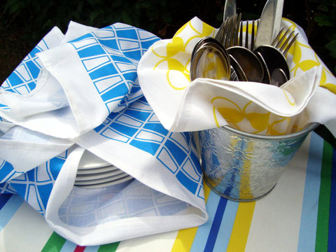 Retro, MCM tea towels in blue and yellow for eating outside [thedasherie.com]