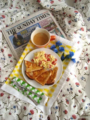 Retro Yellow Tumblers Teat Towel as tray liner for breakfast in bed [thedasherie.com]