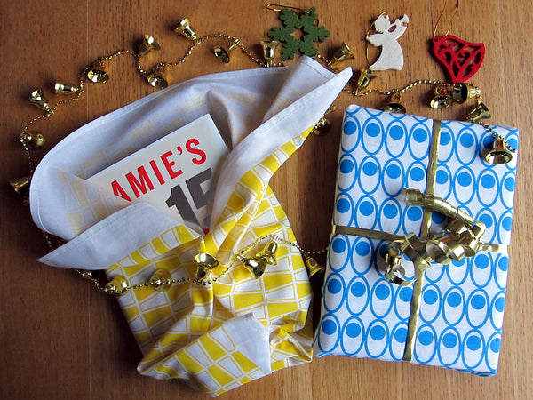 Blue Devilled Eggs and Yellow Tumblers Tea Towel as Book Gift Wrap #Christmas  (www.thedasherie.com)
