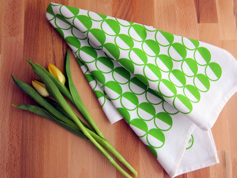 Retro, MCM style green half circles tea towel with summer flowers [thedasherie.com]