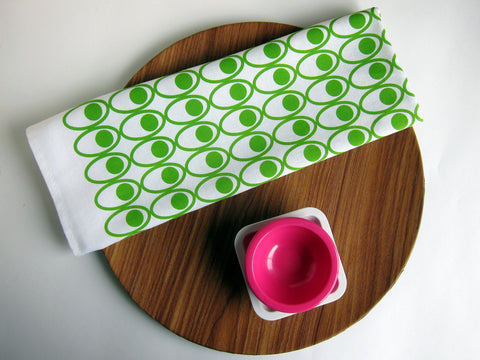 Scandinavian style green deviled eggs tea towel from thedasherie.com
