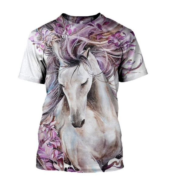 Bella Flor 3D White Horse Printed T-Shirt