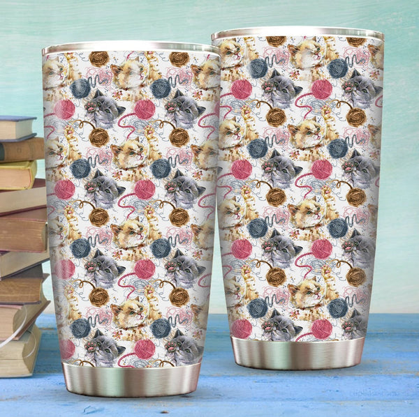 Cat and Yarn Stainless Steel Tumbler